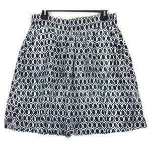 LOFT blue white elastic pockets geo skirt A0348